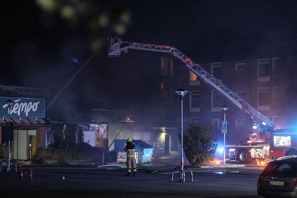 Brand vid Tempo i Varberga