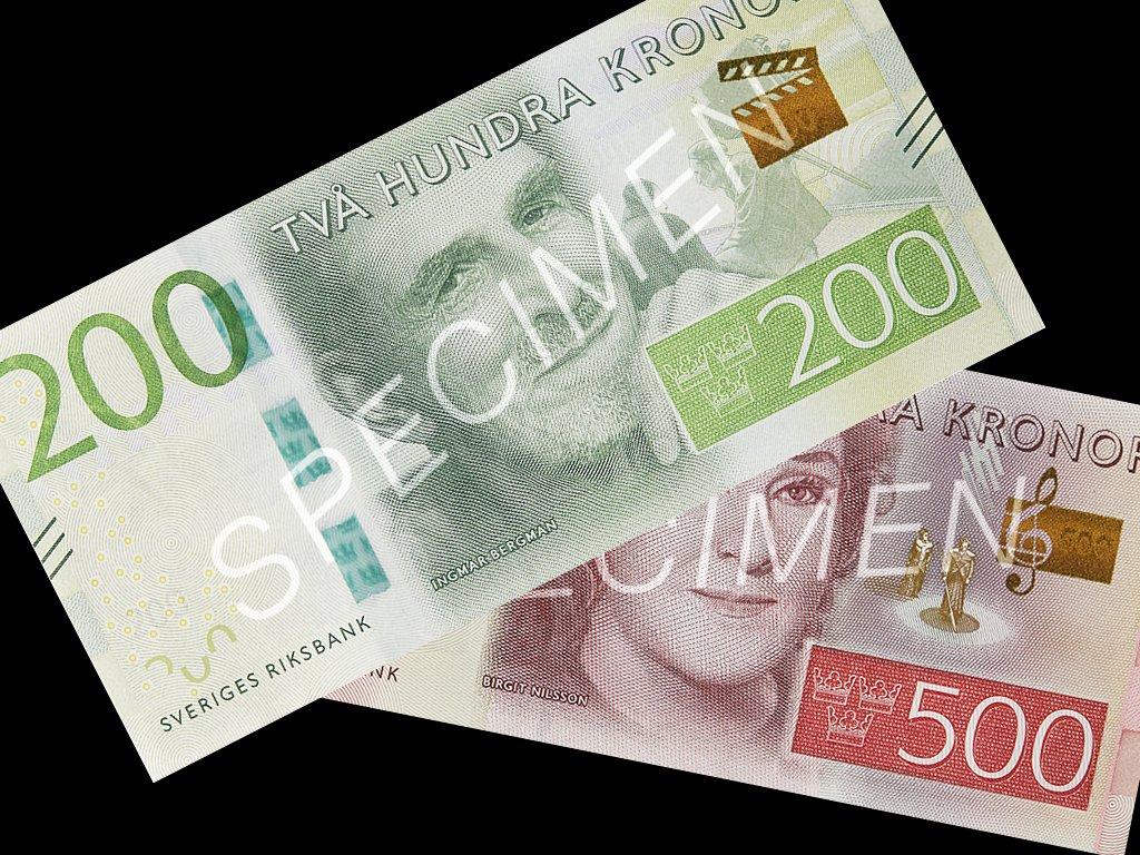 200 och 500-kronorssedel