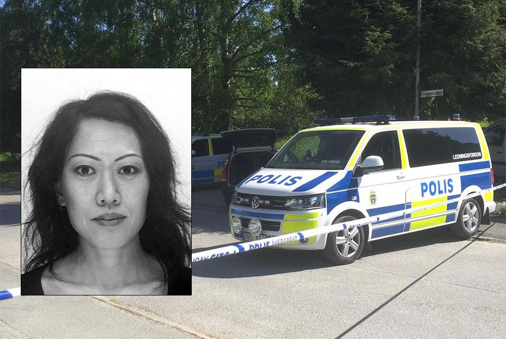 Lena Wesström och polisfordon i Hjärsta