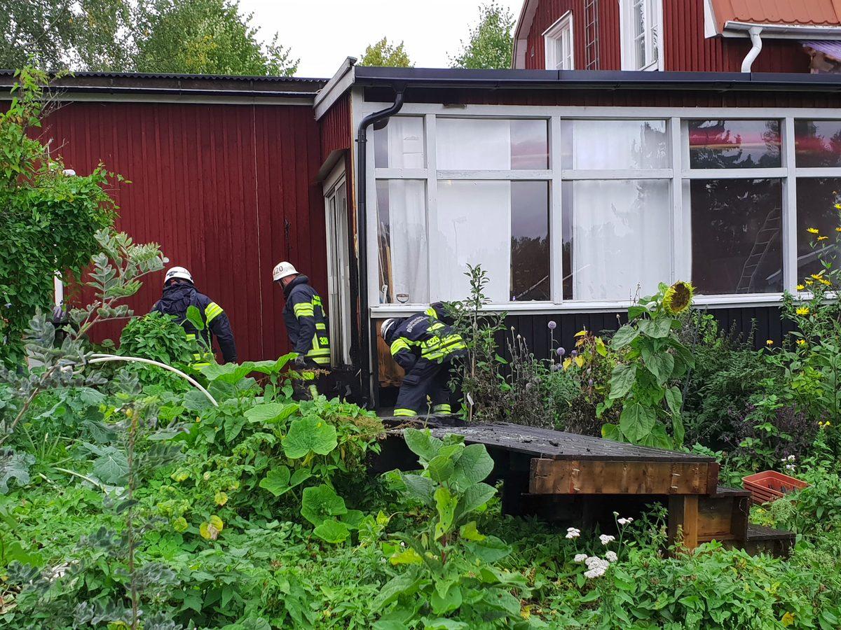 Brand i en trappa i Askersund