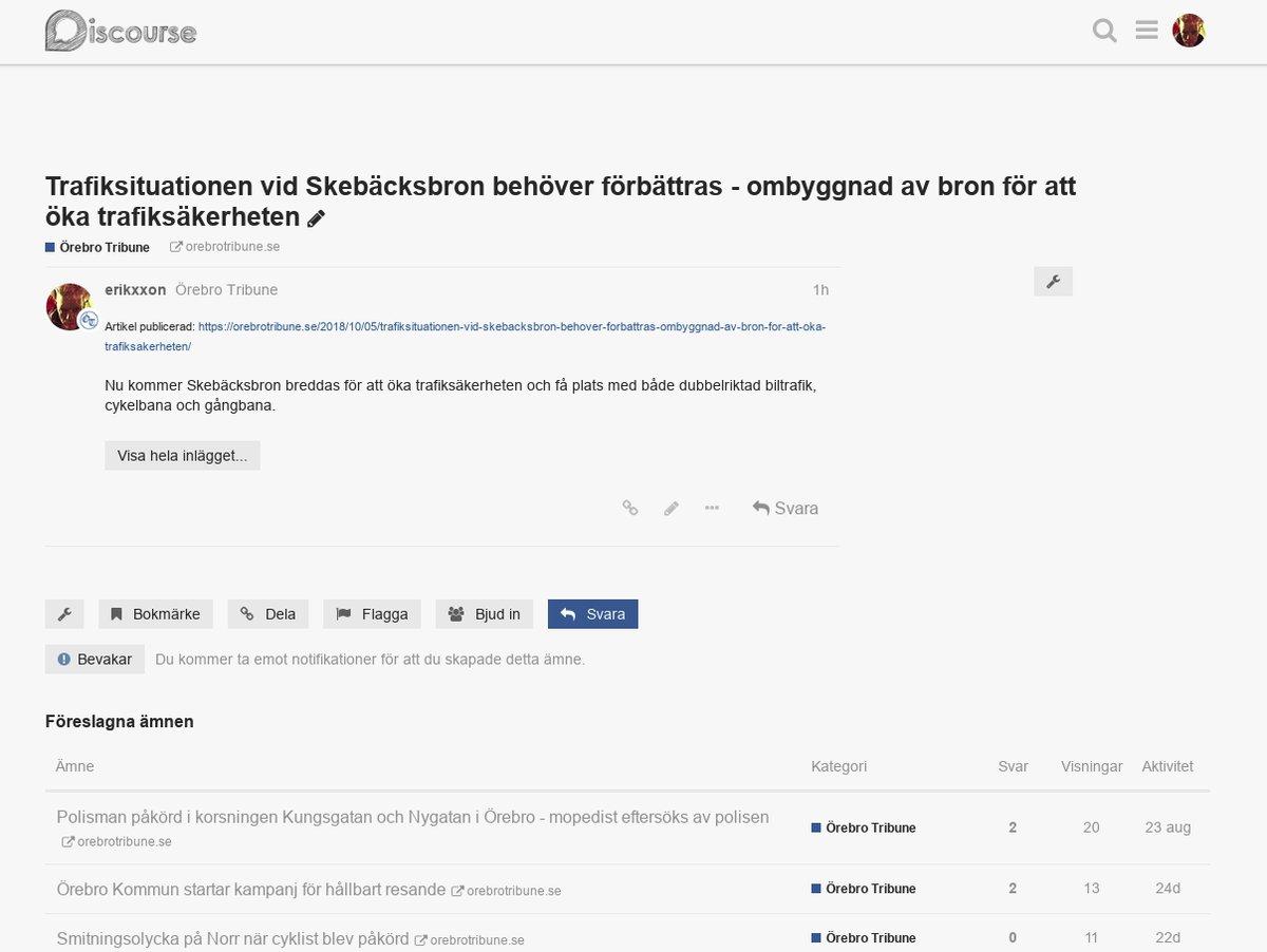 Artiklar i Discourse - Örebro Tribune