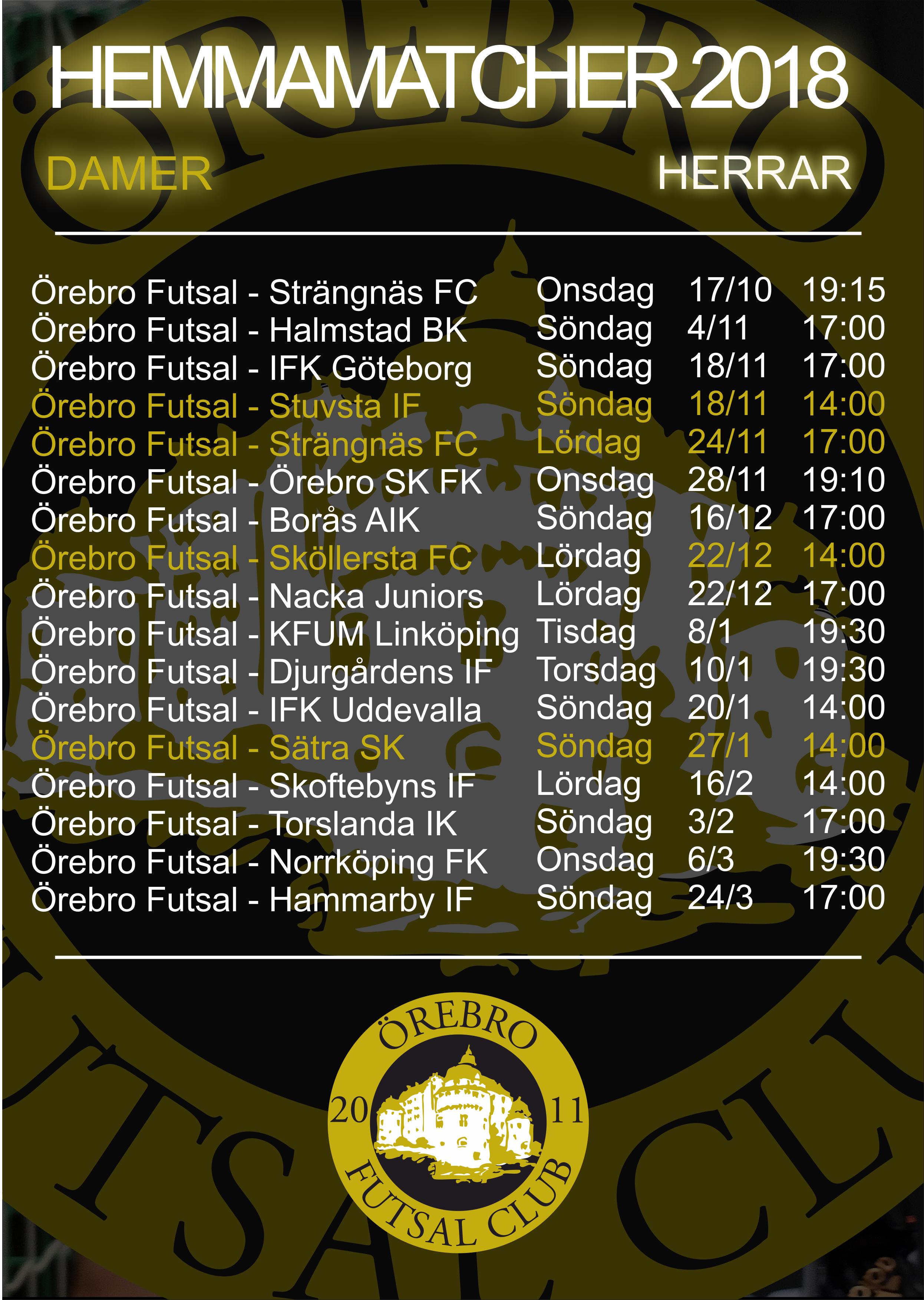 Örebro Futsal Club - Spelschema